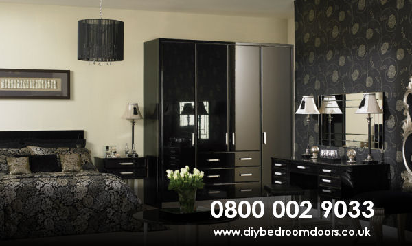 high-gloss-black-bedroom-doors